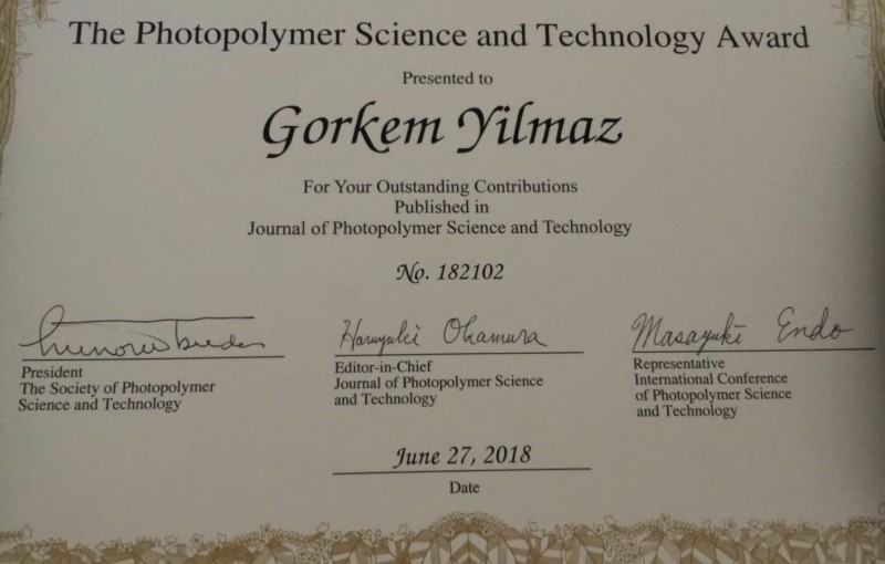 Our group members Mustafa Ciftci and Gorkem Yilmaz has just received the Photopolymer Science and Technology award for their outstanding contributions to Journal of Photopolymer Science and Technology