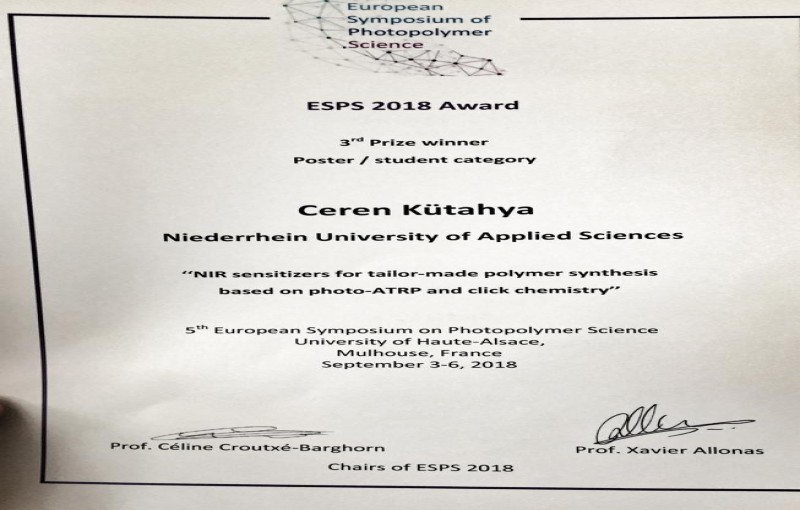 Our former group member Ceren Kutahya has just received poster award from European Symposium of Photopolymerization Science Congress