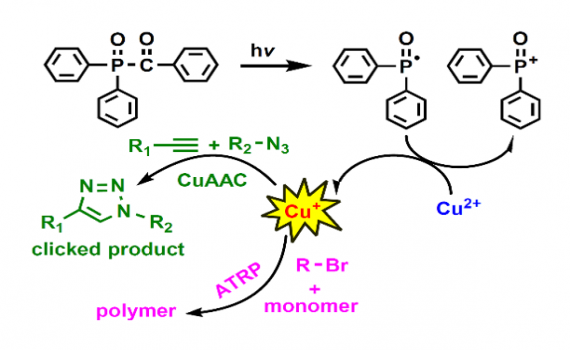 Reduction of Cu(II) by photochemically generated phosphonyl radicals to generate Cu(I) as catalyst for atom transfer radical polymerization and azide-alkyne cycloaddition click reactions